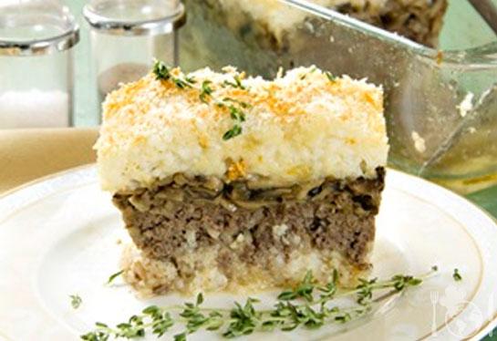 Рисовый гратен с мясом и грибами